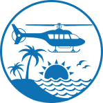 Helicopter over the ocean icon
