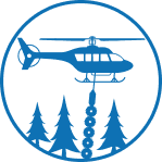 Helicopter over forest icon